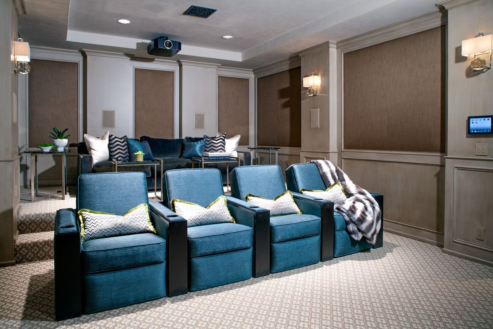 Poway Movie Theater for a Transitional Home Theater with a Sconces and California Family by Pal + Smith