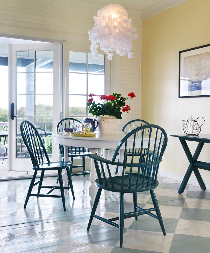 Pratt and Lambert Paint for a Beach Style Dining Room with a Comb Back Chair and Summer Cottage by Hollester Interiors