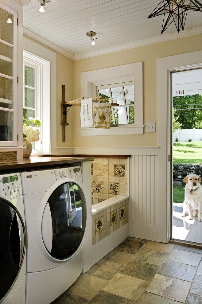 Pratt and Lambert Paint for a Traditional Laundry Room with a Painted Wood Ceiling and Stunning Laundry Room, Mud Room & Dog Shower by Smith & Vansant Architects Pc