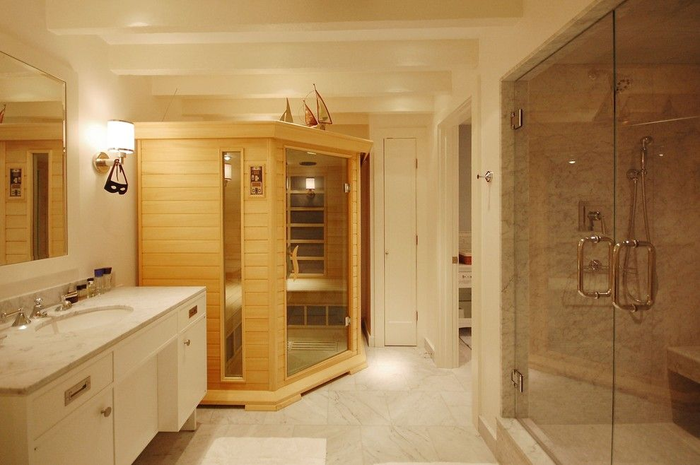 Price Pfister Warranty for a Beach Style Bathroom with a White and Boston Condo by Leslie Saul & Associates