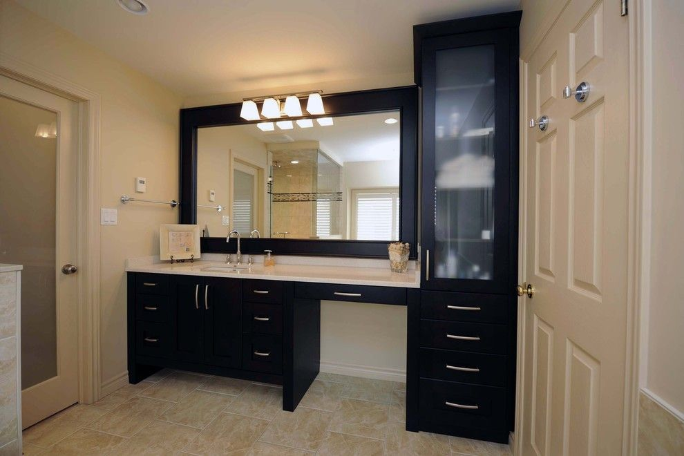 Price Pfister Warranty for a Modern Bathroom with a Black Mirror Frame and 006 by Shelley Pelc
