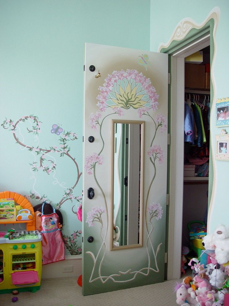 Primos Dallas for a Contemporary Bedroom with a Lavender and Girl's Bedroom Murals by Sheri M Moen Murals & Interiors