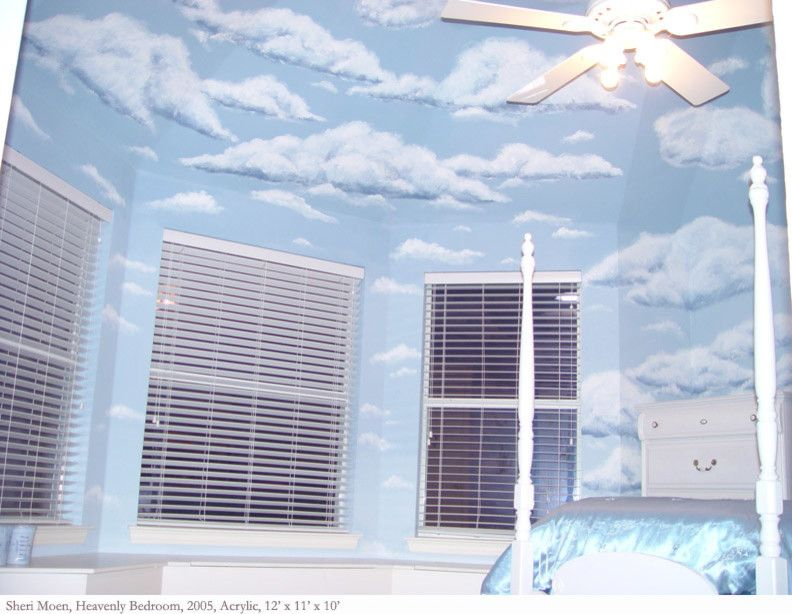 Primos Dallas for a Contemporary Bedroom with a Rose Garland and Girl's Bedroom Murals by Sheri M Moen Murals & Interiors