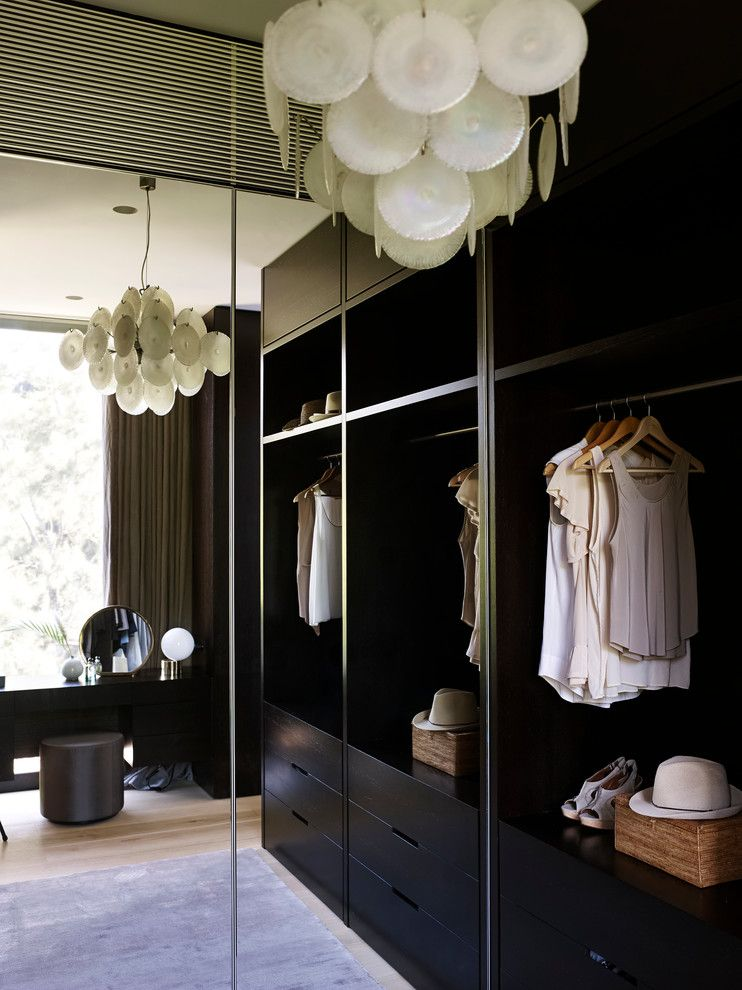 Primping for a Contemporary Closet with a Vanity Stool and Tropical House by Sarah Davison Interior Design