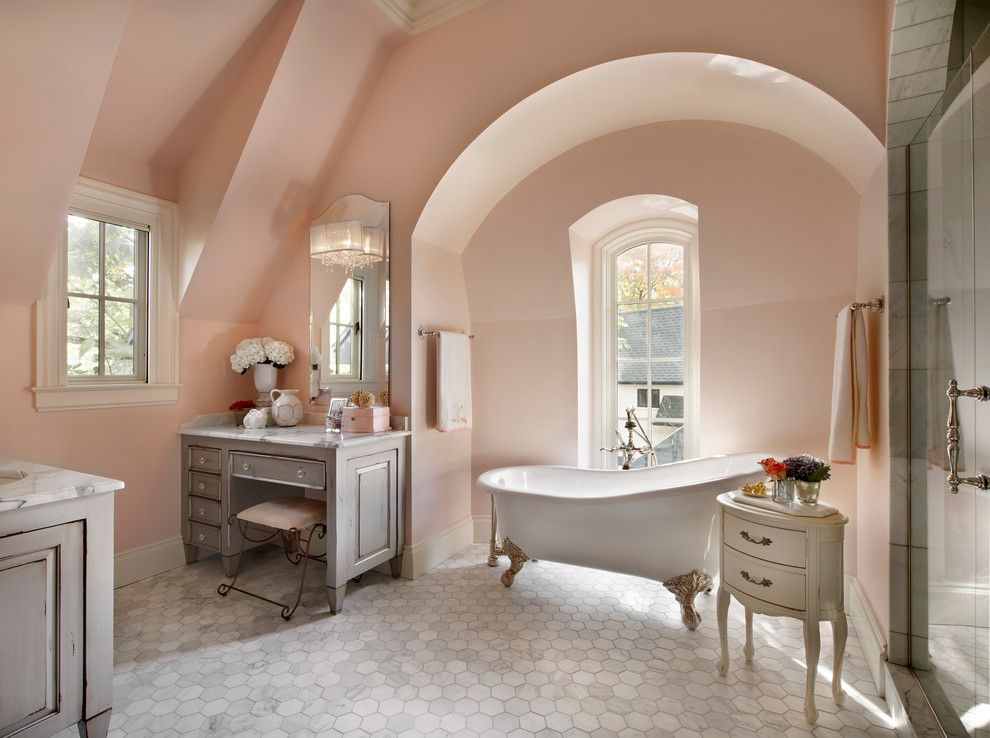 Primping for a Traditional Bathroom with a Cameo Pink and French Country | Naperville, Il by Charles Vincent George Architects, Inc.