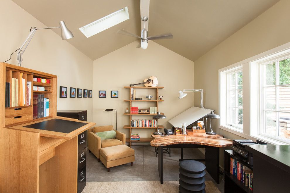 Pro Direct for a Transitional Home Office with a Drafting Table and Laurelhurst Garden + Studio by Howells Architecture + Design, Llc