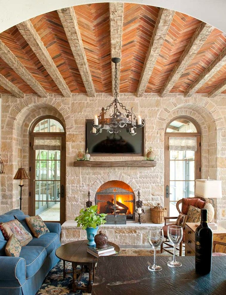 Promontory Park City for a Mediterranean Family Room with a Coffee Table and Residence in Park Cities by Childress Interiors, Inc.