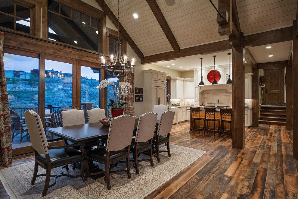 Promontory Park City for a Rustic Dining Room with a Cameo Homes Inc and 2014 Park City Showcase of Homes by Park City Luxury Home Builders, Cameo Homes, by Cameo Homes Inc.