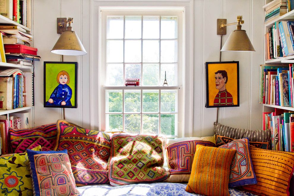 Proper Way to Hang American Flag for a Farmhouse Family Room with a Reading Nook and My Houzz: An Antique Cape Cod House Explodes with Color by Rikki Snyder