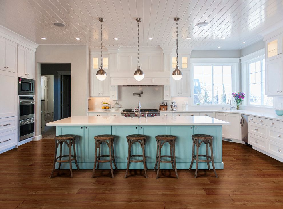 Providence at Brier Creek for a Contemporary Kitchen with a Blue Cabinets and Kitchen by Carpet One Floor & Home