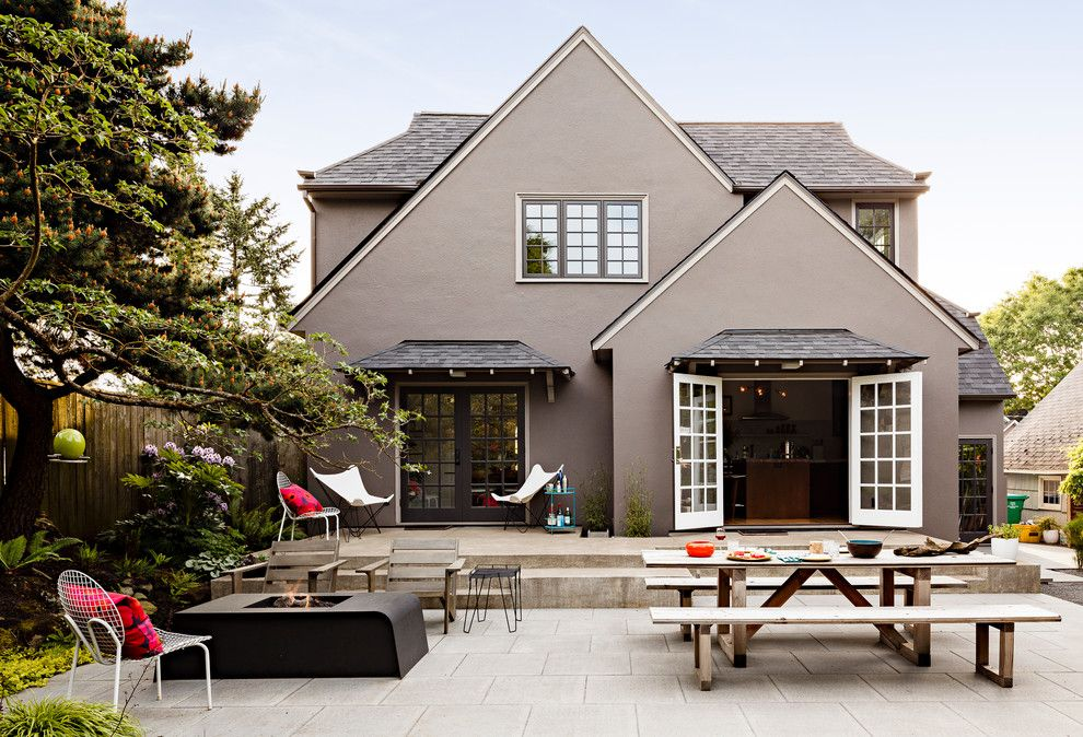 Providence at Brier Creek for a Contemporary Patio with a Wood Outdoor Bench and Portland Modern Tudor Landscape by Risa Boyer Architecture