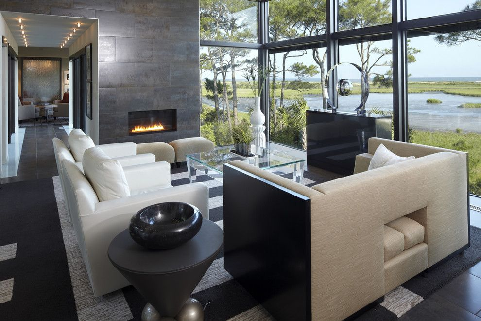 Providence at Brier Creek for a Modern Living Room with a Fireplace and Modern House by the Anderson Studio of Architecture & Design