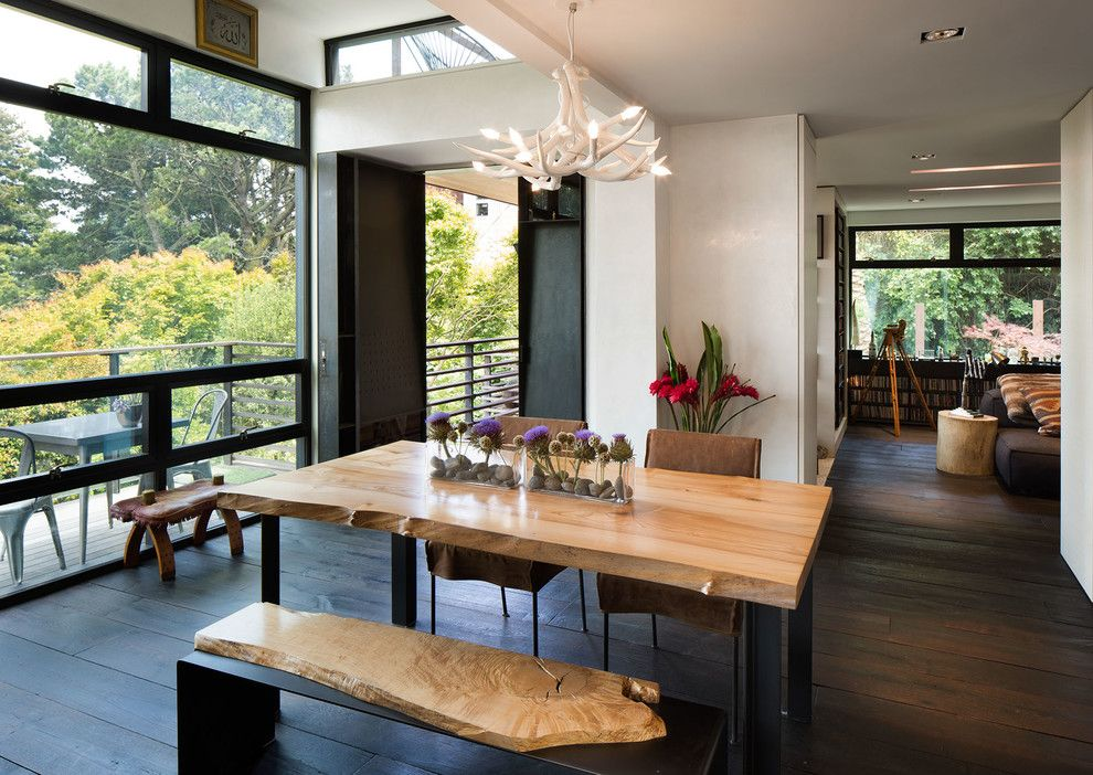 Pulte Homes Reviews for a Contemporary Dining Room with a Wall of Windows and Marin Residence by Dawson & Clinton