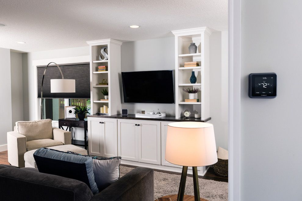 Pulte Homes Reviews for a Contemporary Living Room with a Connected Home Technology and Honeywell Home by Honeywell Home