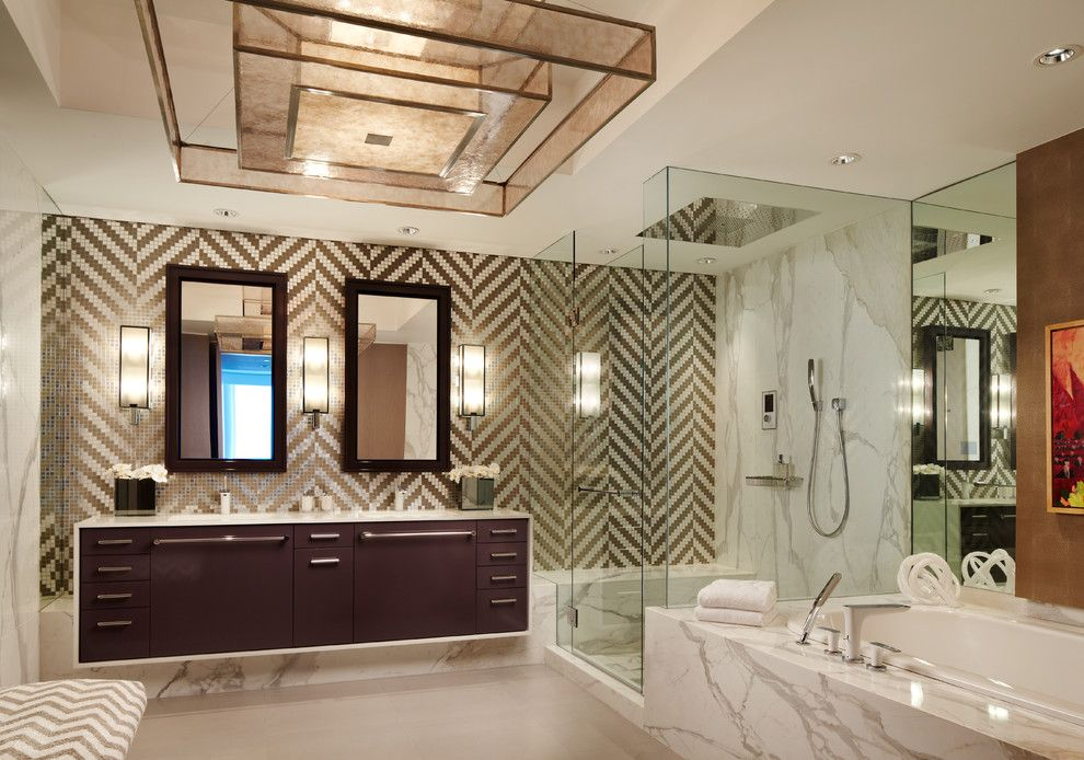 Pura Vida Miami for a Contemporary Bathroom with a Double Sinks and Continuum 2   Miami Beach Residence by Allen Saunders, Inc.
