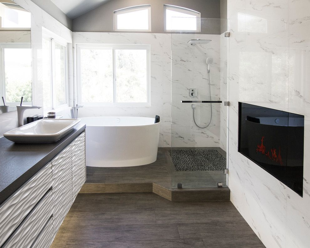 Pura Vida Miami for a Contemporary Bathroom with a Natural Light and Yorba Linda Residence by Soho Kitchen Studio Inc.