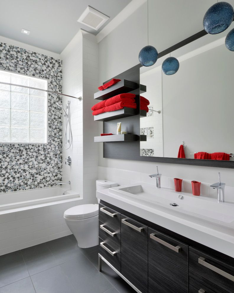 Pura Vida Miami for a Contemporary Bathroom with a Small Pendant Lights and Staples by Gina Godin