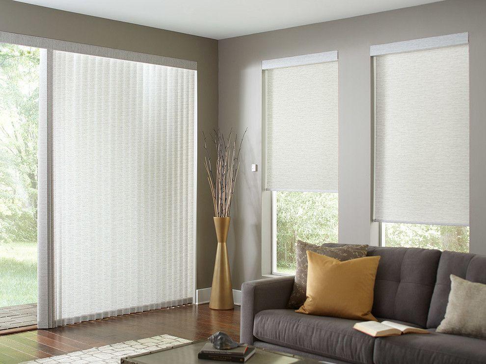 Qmotion Shades for a Modern Living Room with a Patio Door and Lafayette Interior Fashions Custom Window Coverings by Lafayette Interior Fashions