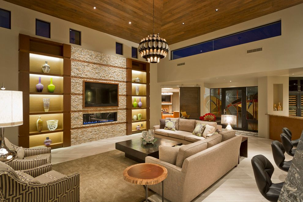 Quadra Fire Wood Insert for a Contemporary Living Room with a Custom Home and Mirabel by Madison Couturier Custom Homes