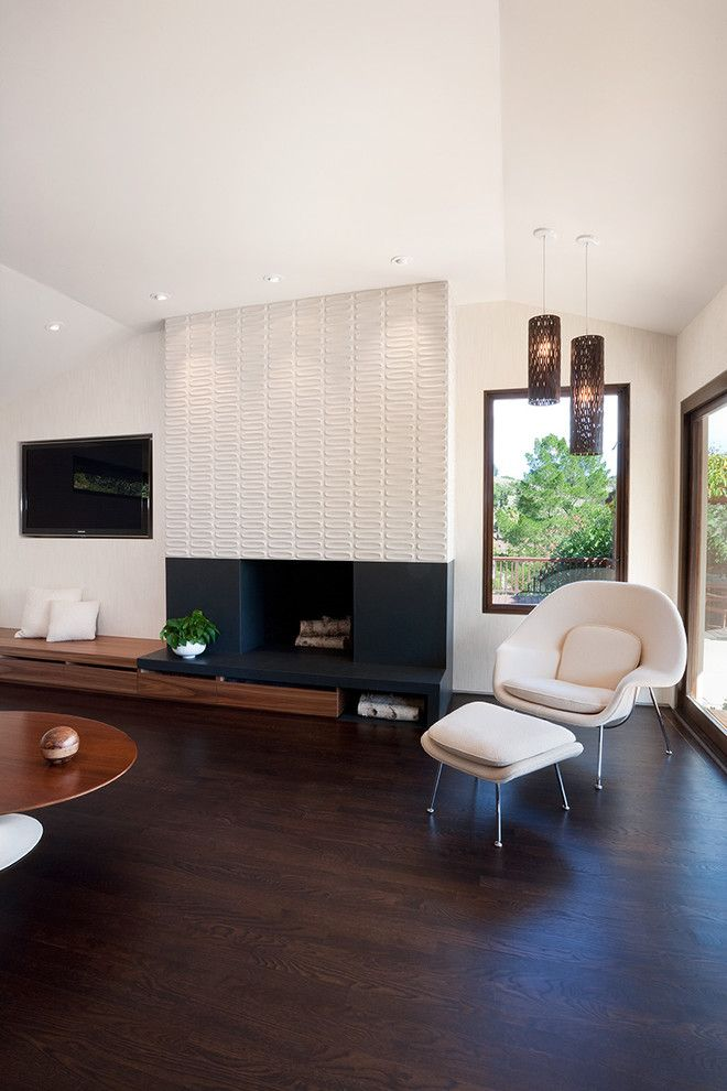 Quadra Fire Wood Insert for a Midcentury Family Room with a Mid Century Modern and Moraga Residence by Jennifer Weiss Architecture