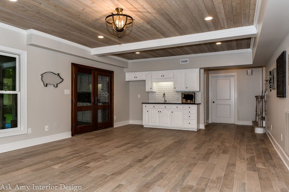 Quail Hollow Country Club for a Transitional Basement with a Wood Flooring and Quail Hollow Country Club,  Basement and Wine Cellar Rennovation by Ask Amy Interior Design