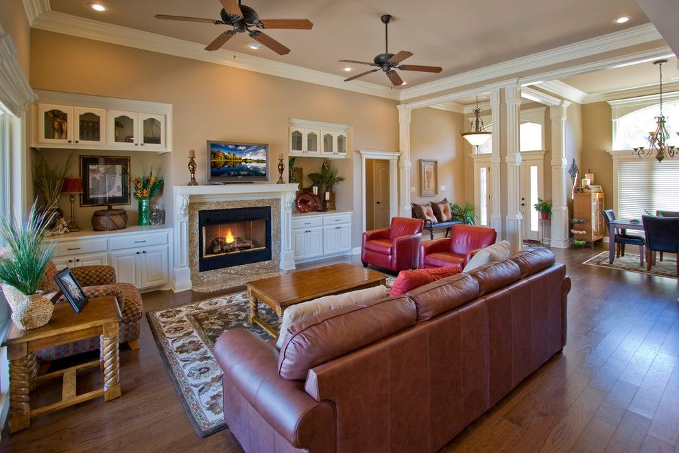 Quail Valley Golf Course for a Transitional Living Room with a Entryway Bench and Elegant Living Room in Benton Arkansas Home by D&d Homes