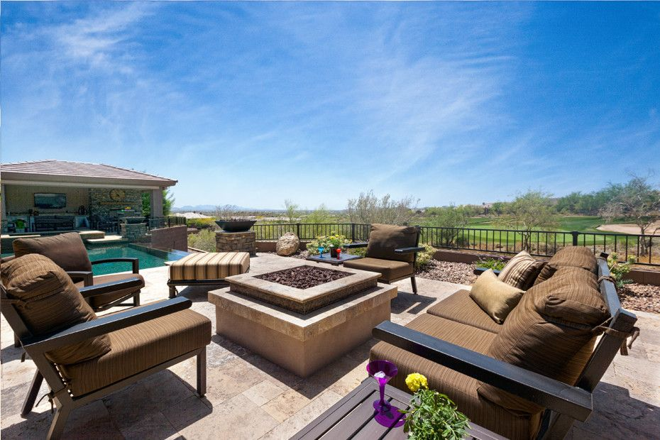 Quaker Ridge Golf Club for a Mediterranean Patio with a Fireplace and Anthem Outdoor Living Room & Fire Feature by Unique Landscapes and Custom Pools