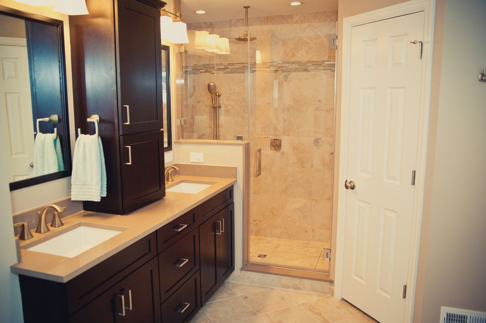 Quartz Countertops vs Granite for a Traditional Bathroom with a Wall Tile and World Slate Porcelain   Bath by Best Tile