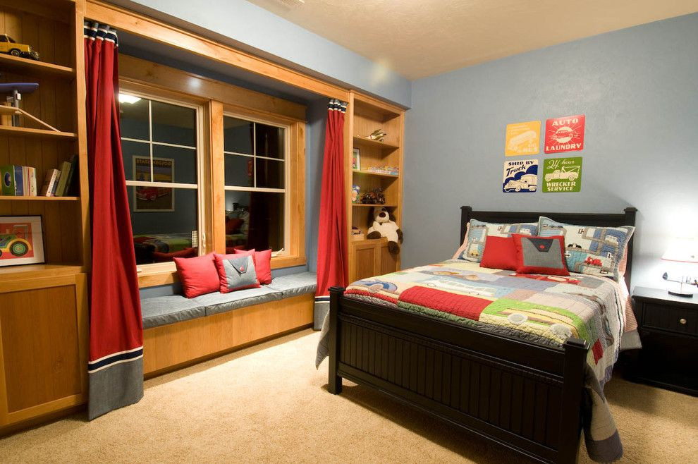 Queen Size Comforter Dimensions for a Traditional Kids with a Bench Seat and Cascadia, Boys Bedrooms by Dc Fine Homes Inc.