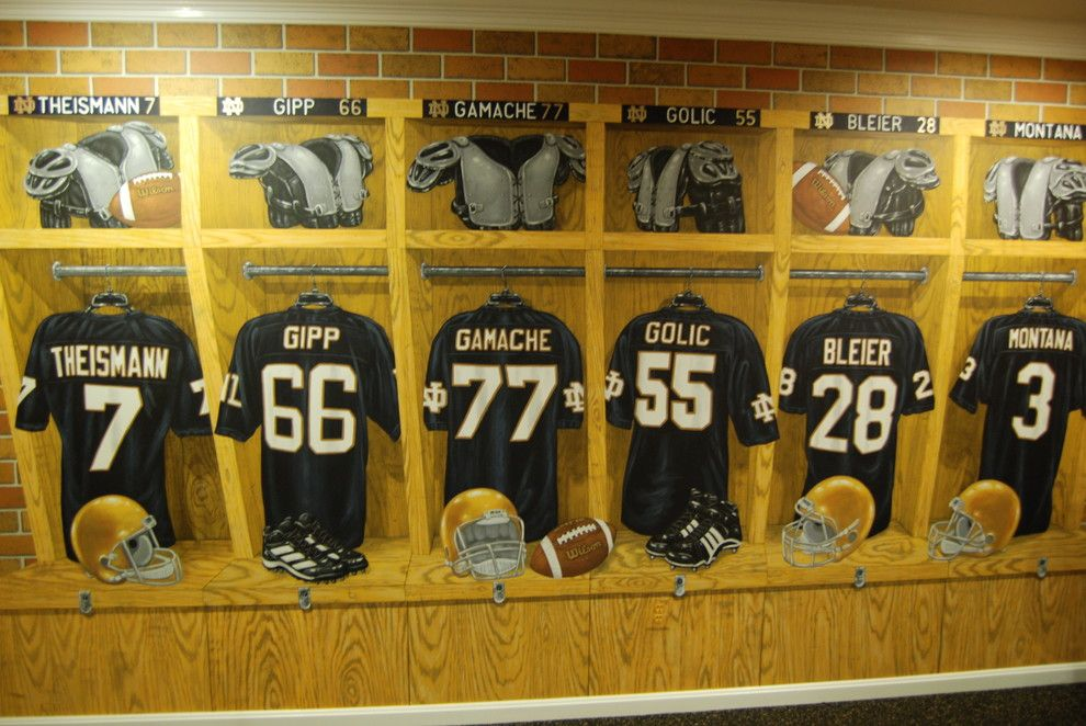 Quincy University Football for a Traditional Home Gym with a Home Gym and Notre Dame Football Locker Room Mural by Tom Taylor of Wow Effects, in Virginia by Mural Art Llc Wall Murals and Fine Art