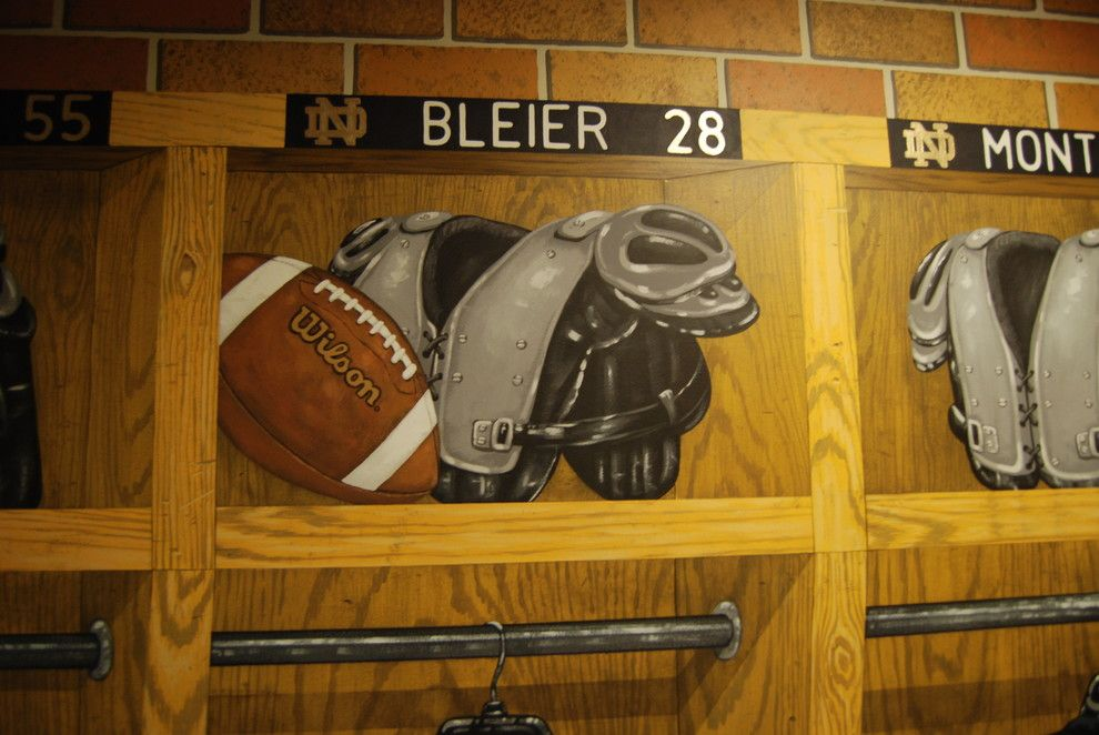Quincy University Football for a Traditional Spaces with a Exercise Room Ideas and Notre Dame Football Locker Room Mural by Tom Taylor of Wow Effects, in Virginia by Mural Art Llc Wall Murals and Fine Art