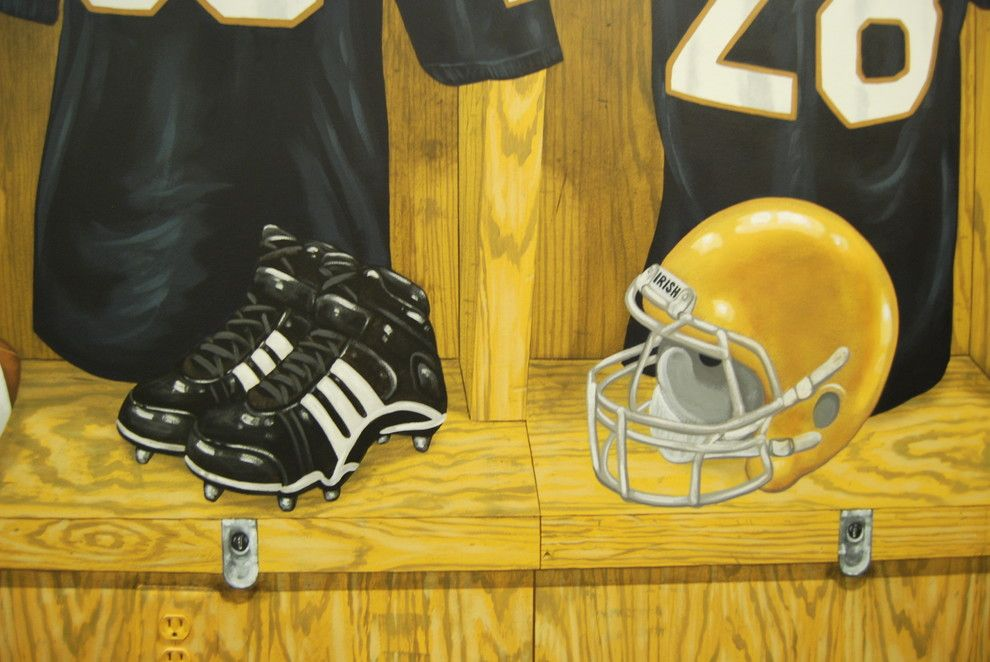 Quincy University Football for a Traditional Spaces with a Sports and Notre Dame Football Locker Room Mural by Tom Taylor of Wow Effects, in Virginia by Mural Art Llc Wall Murals and Fine Art