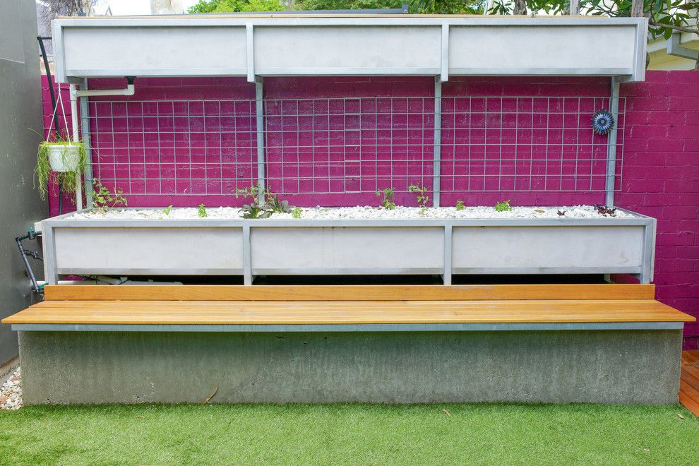 Raspberry Trellis for a Contemporary Landscape with a Astroturf and Zen's House by Zugai Strudwick Architects