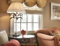 Raspberry Trellis for a Traditional Family Room with a Romantic Window Treatment and Colorful Traditional Home by Kingsley Belcher Knauss, ASID