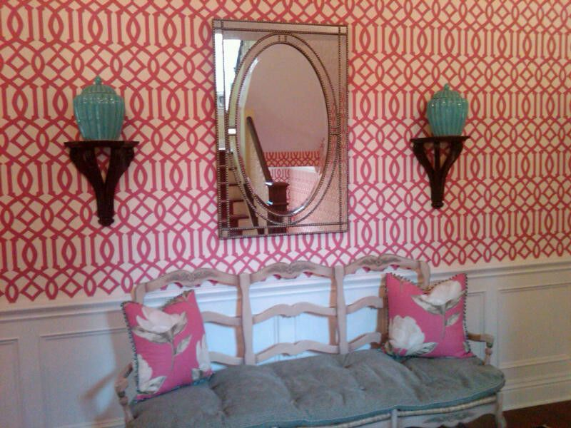 Raspberry Trellis for a Transitional Entry with a Floral Pillows and Design Firm   Lee Meier Interiors by Lee Meier Interiors