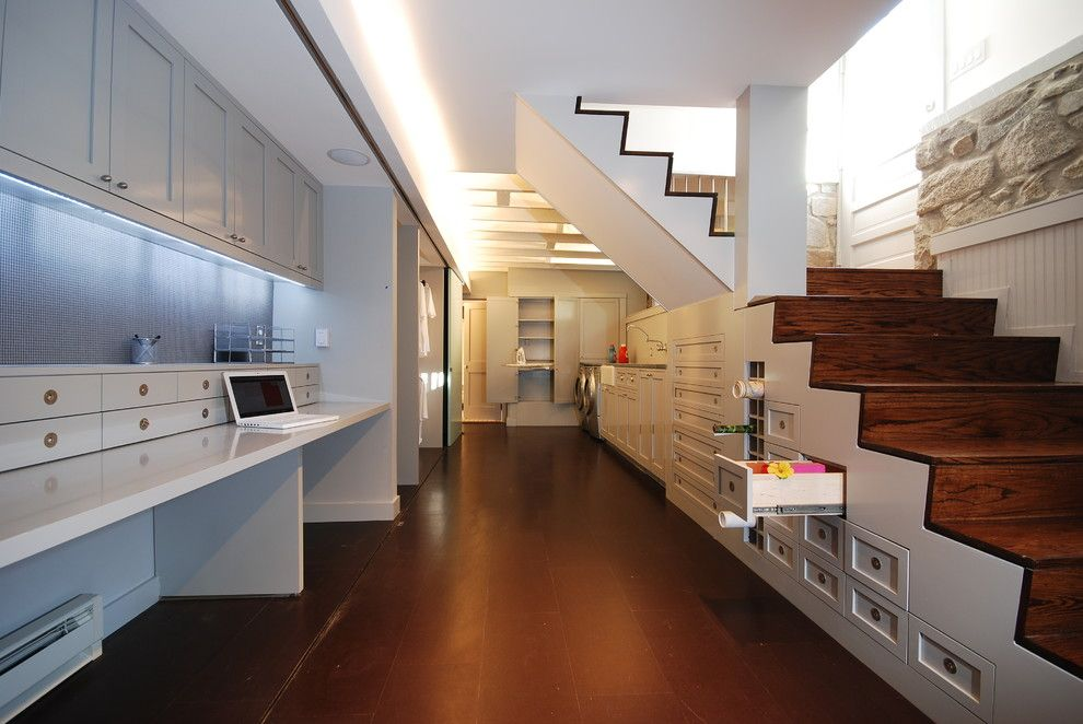 Raymond Building Supply for a Contemporary Basement with a Gray Countertop and Jenifer St. Residence by E/l Studio