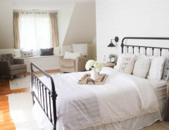 Raymour and Flanigan Ct for a Farmhouse Spaces with a Hardwood Flooring and Vintage White Farmhouse Master Bedroom by Raymour & Flanigan Furniture and Mattresses