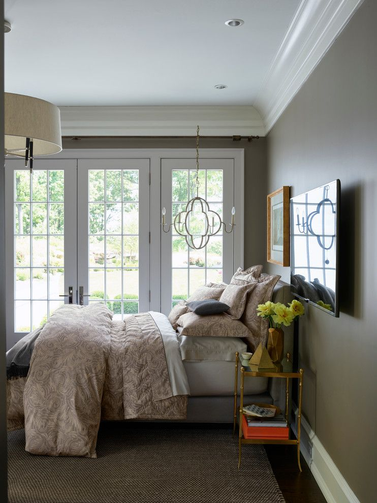 Raynor Doors for a Contemporary Bedroom with a Contemporary and Yves Delorme Opal Bedding Collection by Bloomingdale's