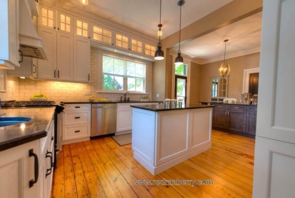 Razberry for a Traditional Kitchen with a Lighting and 1840's Home by Red Razberry Design Group