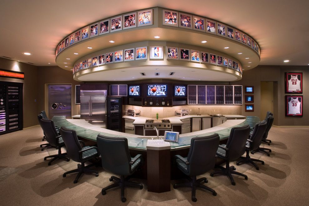 Redlands Theater for a Contemporary Kitchen with a Curved Counter and CEDIA Award for Best Media Room by Van Trease Constructors