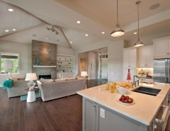 Redlands Theater for a Contemporary Kitchen with a Stainless Steel and the Cooper Show Home by Sticks and Stones Design Group Inc.