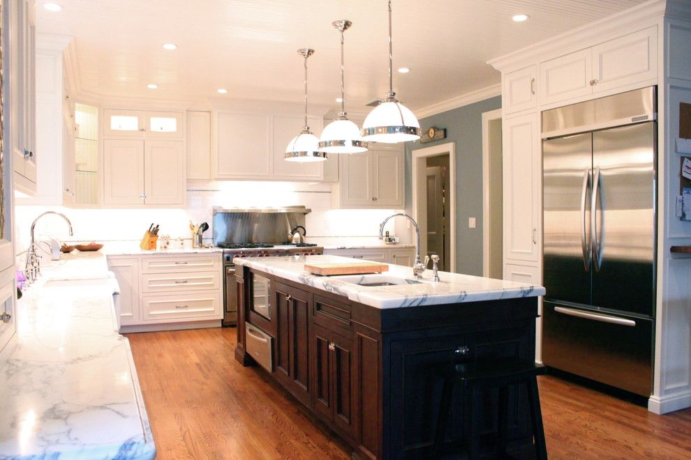 Redlands Theater for a Traditional Kitchen with a Blue Wall and Classic White by House of Cline Design