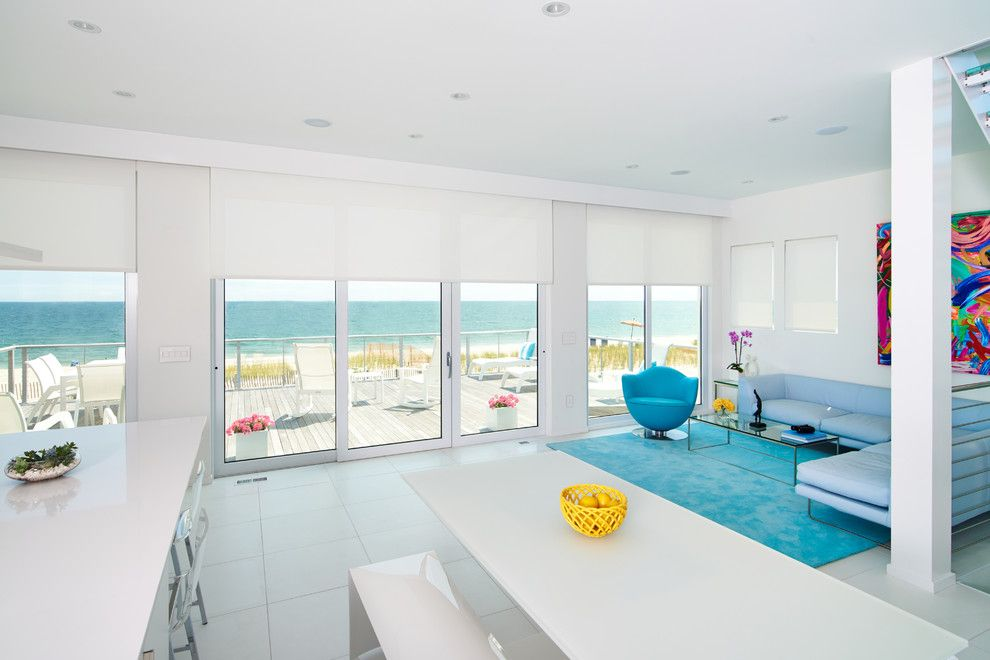 Redondo Beach Wa for a Beach Style Living Room with a Blue Armchair and Somfy by Somfy Systems