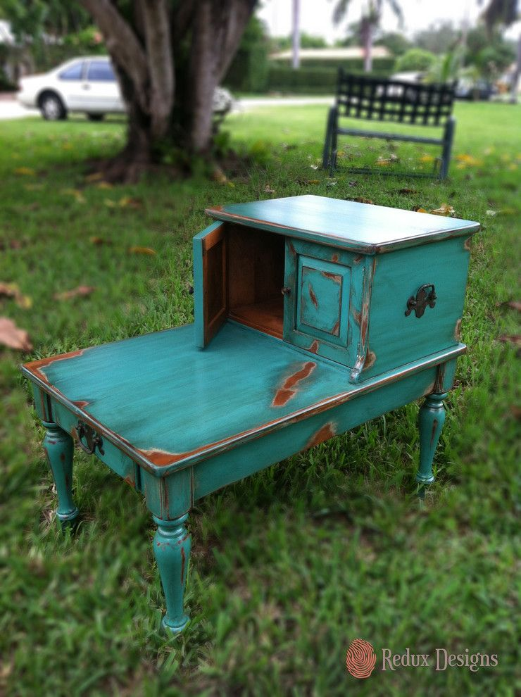 Refinishing a Table for a Traditional Landscape with a Turquoise and Ethan Allen Refinished End Tables by Redux Designs