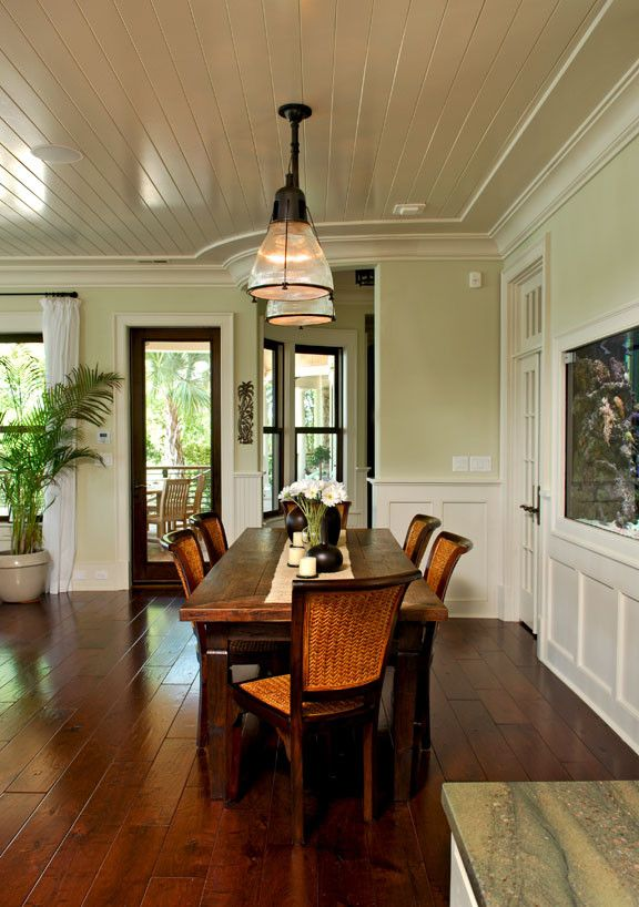 Refinishing a Table for a Tropical Dining Room with a Rattan Chairs and Rattan Chairs Heighten Tropical Feeling of Dining Room by Christopher a Rose Aia, Asid