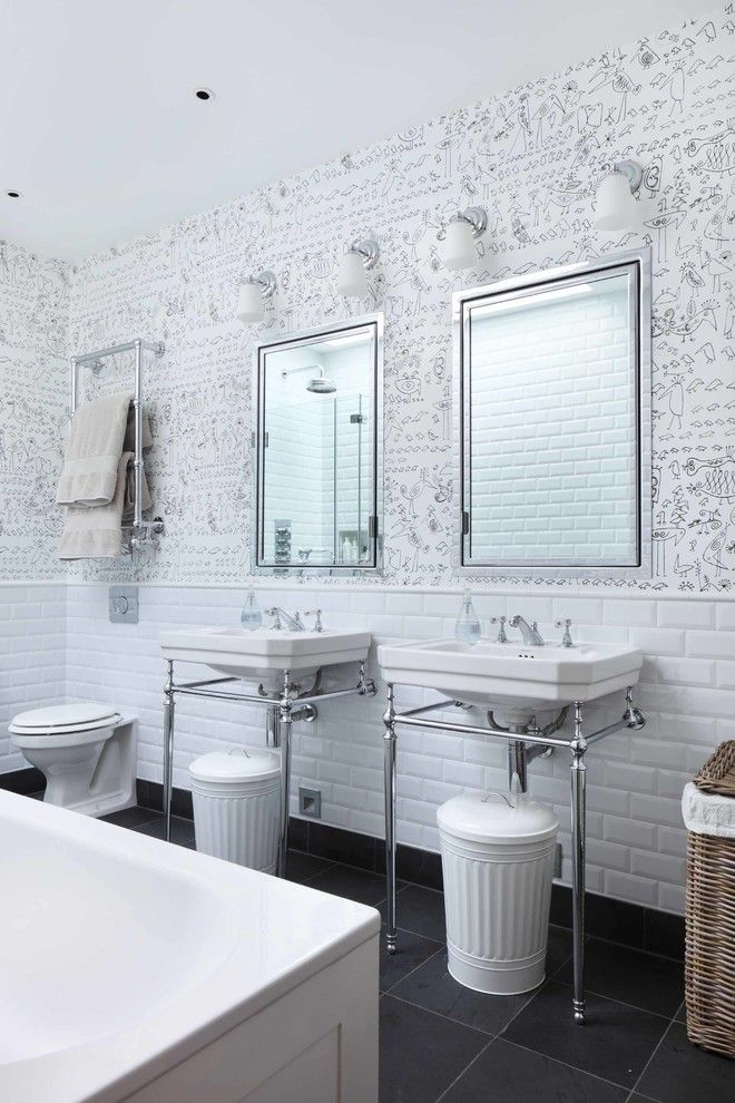Removing Garbage Disposal for a Contemporary Bathroom with a White Tiles and London Mews House by Turner Pocock