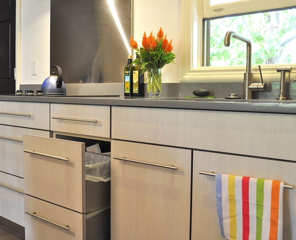 Removing Garbage Disposal for a Contemporary Spaces with a Open Kitchen to Den and Colorful Condo by Red Pepper Design & Cabinetry