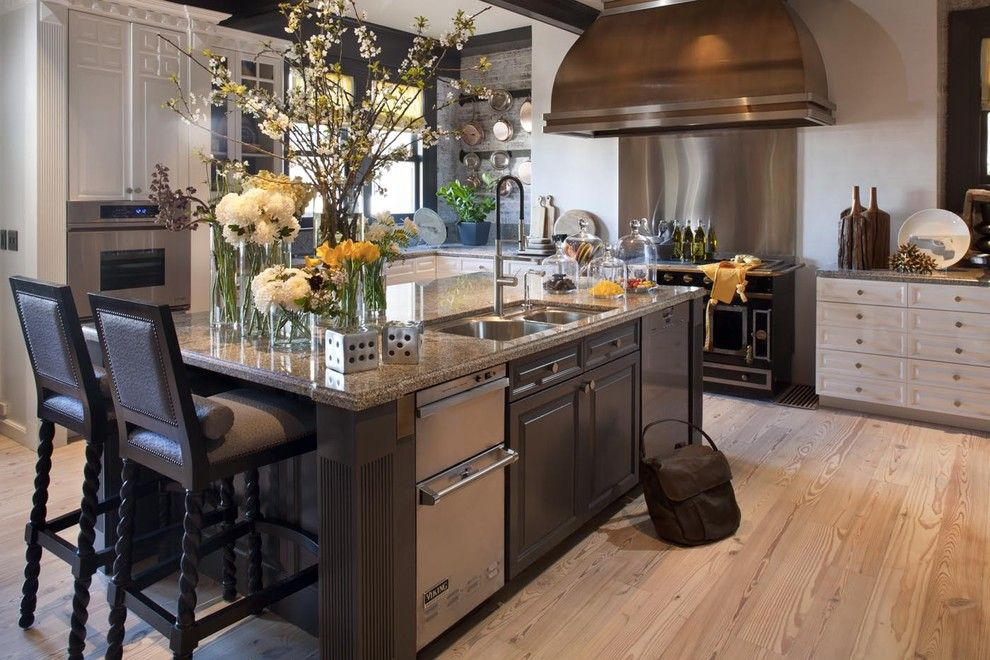 Removing Garbage Disposal for a Traditional Kitchen with a Range and Decorator Showcase by Jeff Schlarb Design