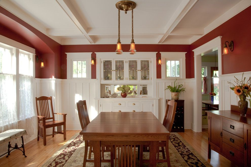 Removing Popcorn Ceiling for a Craftsman Dining Room with a Built in Buffet and Dining Room Restored by Tim Andersen Architect