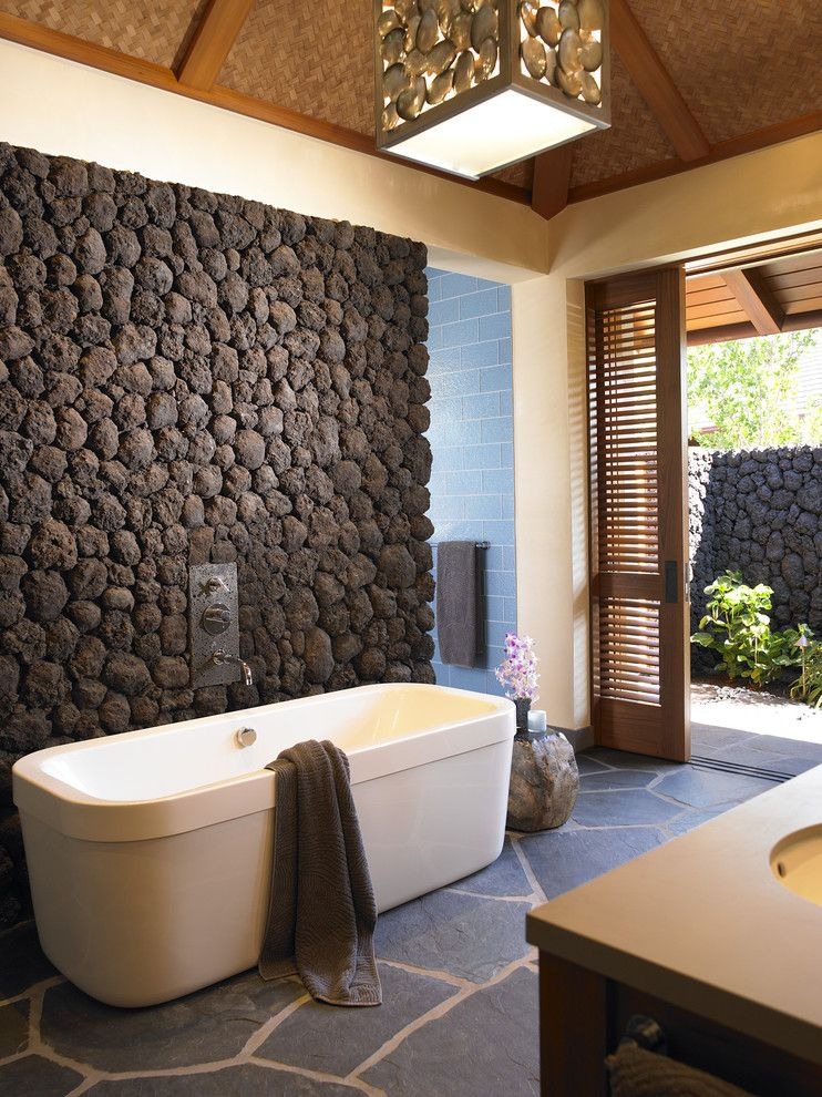 Removing Popcorn Ceiling for a Tropical Bathroom with a Patio Doors and Hawaii by Dara Rosenfeld Design